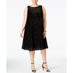 ALFANI Dress Shift Occasion Black Velvet Macy NEW